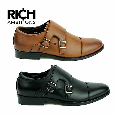 Mens Smart Leather Monk Strap Slip On Black Formal Dress Office Shoes UK Size