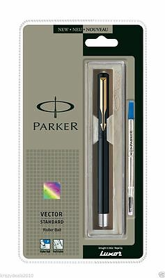 New Parker Vector Standard Gt Gold Trim Rollerball Pen With Black Body