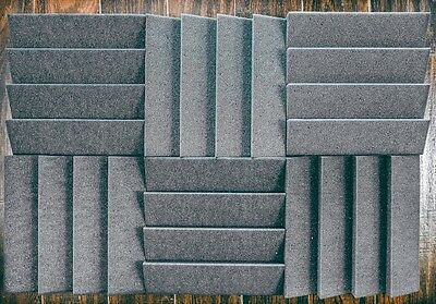 6 pc Acoustic soundproofing Foam *Slanted Tiles   2 x 12 x 12 (charcoal)