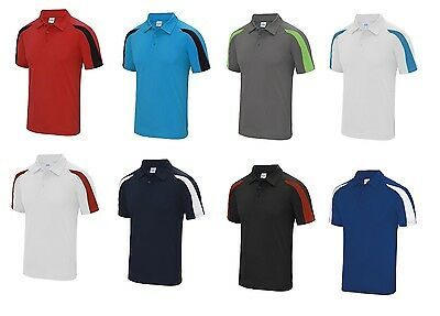 Men's Contrast cool polo Shirt Lawn Bowls Bowling Football Gym Running Sports