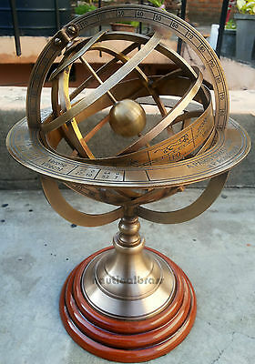 Solid Brass EngravedTabletop Armillary Nautical Sphere Globes -World Globe
