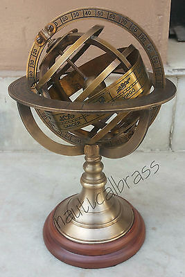 "8"" Nautical Brass Sphere Armillary Engraved Brass Tabletop Sphere Globe"