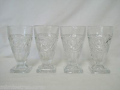 4 Heisey Glass Ipswich Juice Footed Tumblers Glasses Set #1405