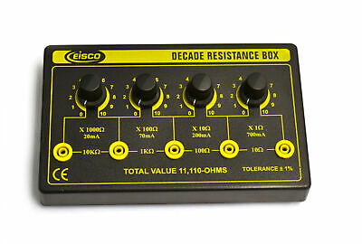 4 Decade Resistance Box, Variable from 0 - 11,110 Ohms, 0.5W Resistors