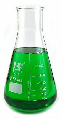 Erlenmeyer (Conical) Wide Neck Flask 2000ml, Borosilicate with 250ml graduations