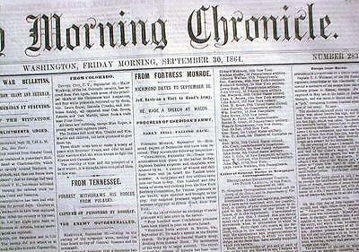 1864 CWar newspaper FORDS THEATER Lincoln Assassination