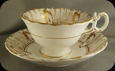 Antique Mid-Victorian (c1865) Semi-Porcelain Hand decorated  Cup and Saucer