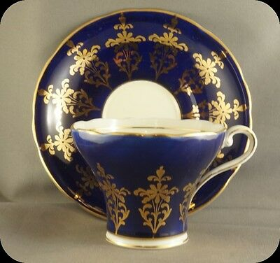 Aynsley Cobalt Blue Corset Heavy Gold Scroll Cup and Saucer