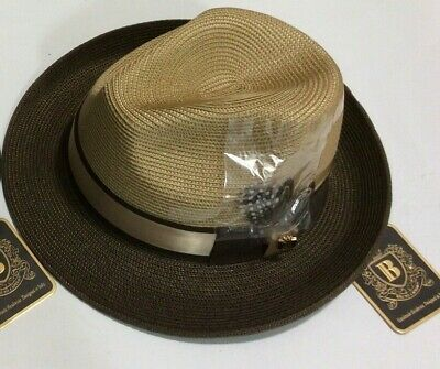 Mens Pinch Front Fedora Summer Straw Hat Whiskey//Brown SI-961 100/% Poly Braid