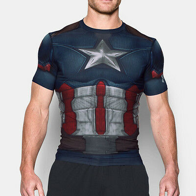 Under Armour Captain America Alter Ego Compression Mens T Shirt Tee Top