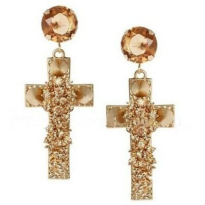 New Fashion Lady Gold Plated Jewelry Cross Rivet Crystal Stud Dangle Earrings
