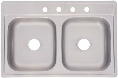 Kindred FDS604NB Double Bowl Stainless Steel Topmount Sink, 33-Inch by 22-Inch,
