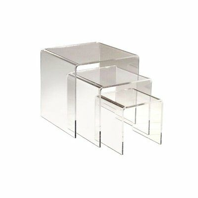 "Adorox Set of 3 Clear Acrylic Display Riser (3"", 4"", 5"") Jewelry Showcase Fixtur"