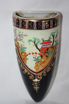 "Vintage Hand Painted Scene W/ Gold Trim Wall Pocket Japan 6 3/4"" X 2 3/4"""