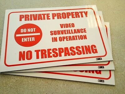Private Property No Trespassing Video Surveillance Pack 3 Metal Signs 450x300 mm