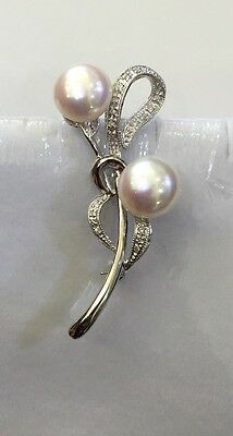 Pre Owned 14k Solid White Gold Pearl Brooch Pin Natural Diamonds
