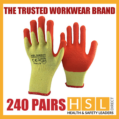 240 Pairs Nylon Latex Gripper Safety Work Gloves Builders Gardening Construction