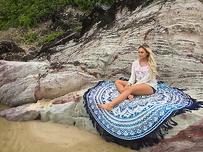 ---Hippie Indian Ombre Mandala Round Beach Roundie Towel Throw Tapestry Yoga Mat