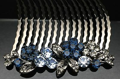 Navy Dark Blue Blossom Formal Bridal Wedding Large Hair Comb Clip 8cm Black