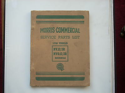 MORRIS COMMERCIAL parts list NV12/3R NVO12/3R 3-ton chassis published 1955