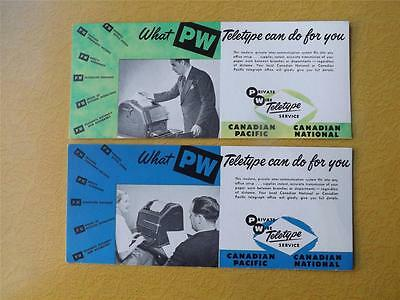 Ink Blotters Canadian Pacific National Railway Private Wire Teletype Lot 2