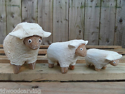Fair Trade Hand Carved Made Wooden Wood Farm Sheep Statues Ornament Set Of 3