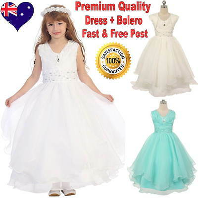 Full Length Flower Girl Dress and Bolero White Communion Confirmation Dress