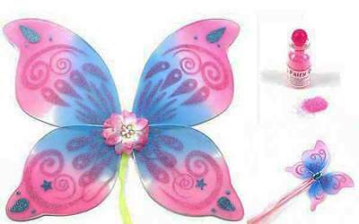 Swirl Pink/Blue Fairy Wings & Fairy Wand + Fairy Dust Fancy Dress Adults or Kids