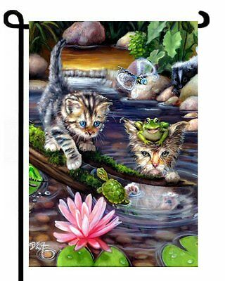 "NEW Kittens on a ""Fishin' Mission"" Frog Turtle  GARDEN FLAG CAT ART"