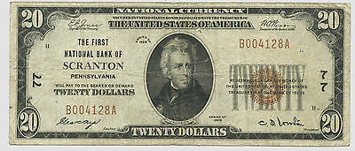 1929 $20 The First National Bank of Scranton Penn National Currency Ch # 77 Fine