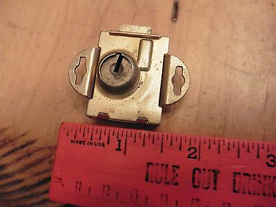 Vintage door lock dead bolt cabinet latch antique hardware box USA key hole 012