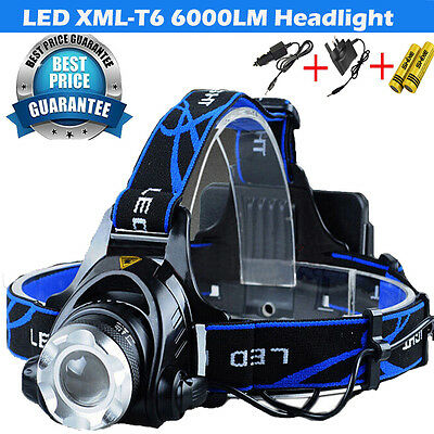 6000LM XM-L T6 LED Head Light Headlamp Torch Rechargeable Headlight UK-009