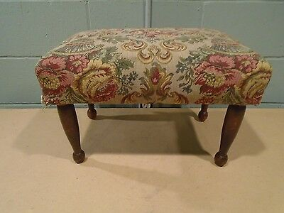 Vintage Ottoman Vintage Foot Stool Foot Rest Step Stool Floral Tapestry Cloth