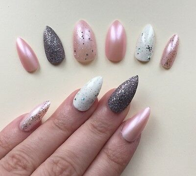 Hand Painted False Nails STILETTO Full Cover. Pearl Pink & Silver Satin Shimmer.