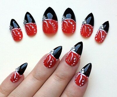 24 x Hand painted false nails. STILETTO Full Cover. Red & Black. Party. UK