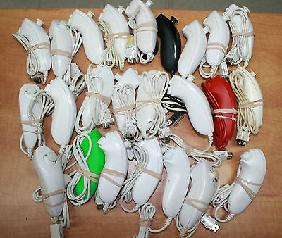 Lot of 24 OEM Nunchuck Wii Controllers for Parts or Repair AS IS FAST SHIPPING