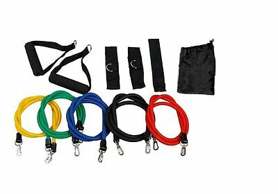 11 PCS Latex Resistance Bands Exercise Set for Yoga ABS P90X Workout Fitness New
