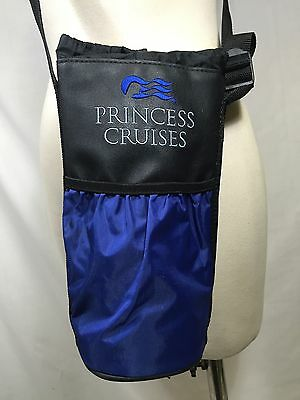 Princess Cruises Insulated Bottle Travel Bag Crossbody Black Blue Embroidered