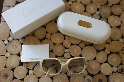 MSRP $399 Authentic Chloe Sunglasses CL2112 135 Glasses WITH CASE WHITE TAN