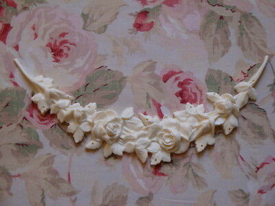 Shabby & Chic Rose and Leaf Swag Furniture Applique Architectural Pediment