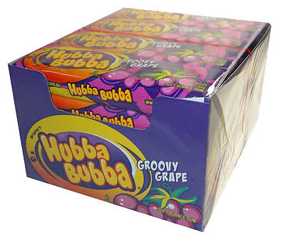 40 X Hubba Bubba Wrigley's Soft Bubble Chewing Gum Groovy Grape Purple