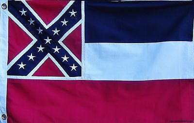 HEAVy COTTON 2 X 3 MISSISSIPPI STATE FLAG  DOUBLE SIDED SEWN & EMBROIDERED STARS