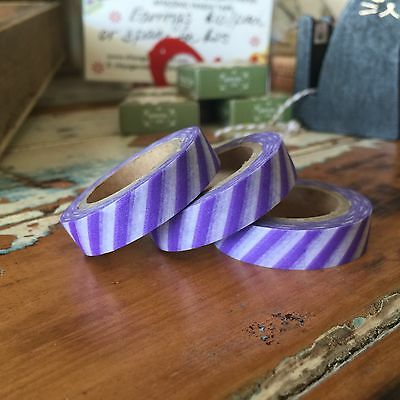 Washi Tape Thin Violet Diagonal Stripe 10Mm Wide X 10Mt Roll Scrap Plan Craft
