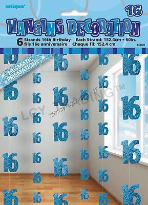 16th Birthday Party 6 Blue Hanging String Door Wall Curtains Decorations 1.5m 16
