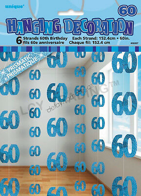 60th Birthday Party 6 Blue Hanging String Door Wall Curtains Decorations 1.5m 60