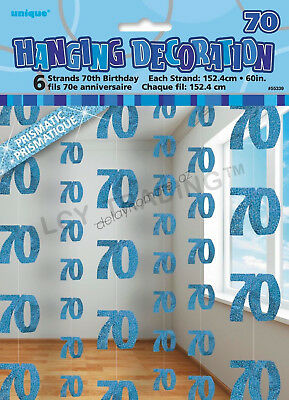 70th Birthday Party 6 Blue Hanging String Door Wall Curtains Decorations 1.5m 70