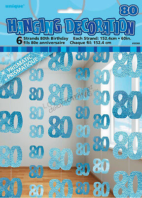 80th Birthday Party 6 Blue Hanging String Door Wall Curtains Decorations 1.5m 80