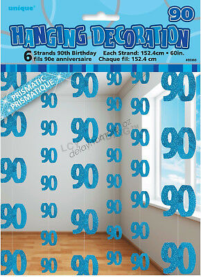 90th Birthday Party 6 Blue Hanging String Door Wall Curtains Decorations 1.5m 90