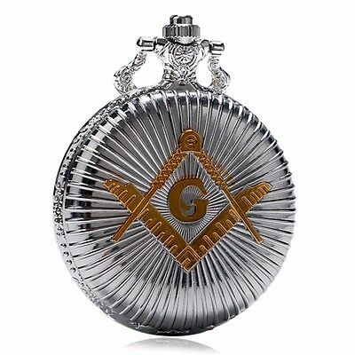 Gold Free-Mason Symbol Necklace Chain Silver Quartz Pocket Watch Analog Gift