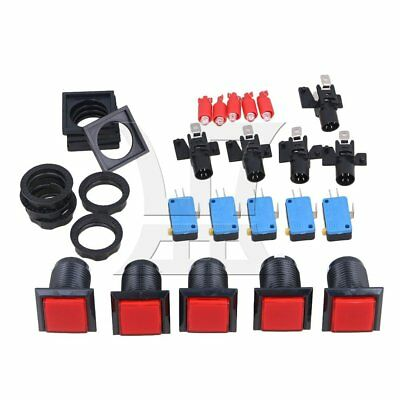 RDEXP Square Arcade Push Button Switch Set of 5 Red and Black